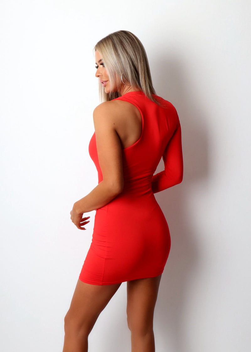 Boudoir Babe One Sleeve Bodycon Dress - Red