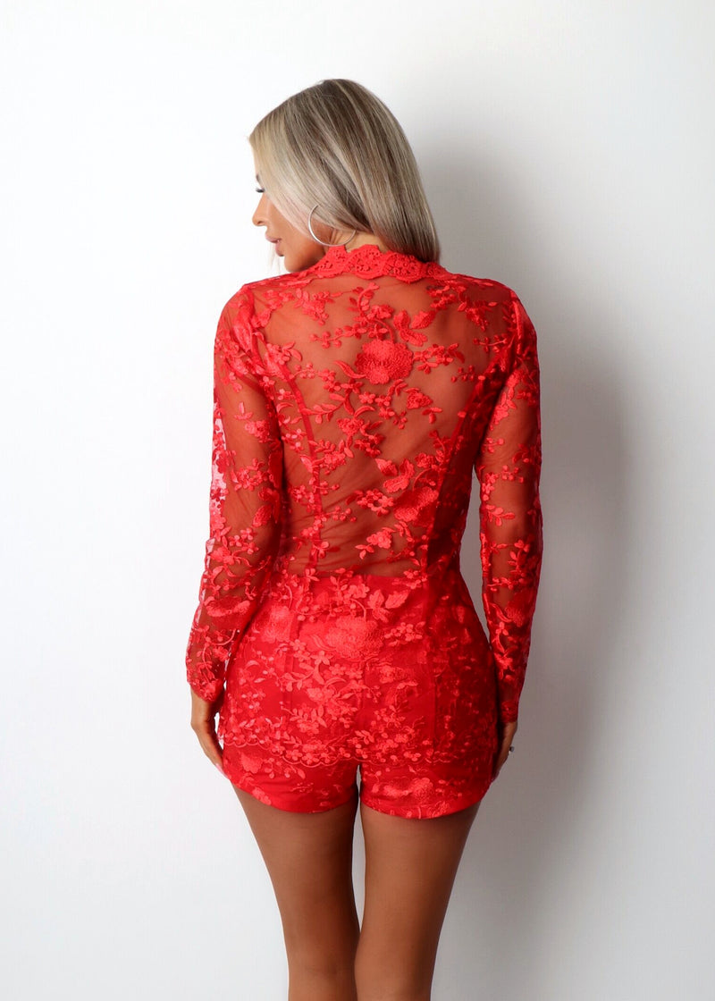 'In Full Bloom' Floral Mesh Embroidered Two Piece - Red