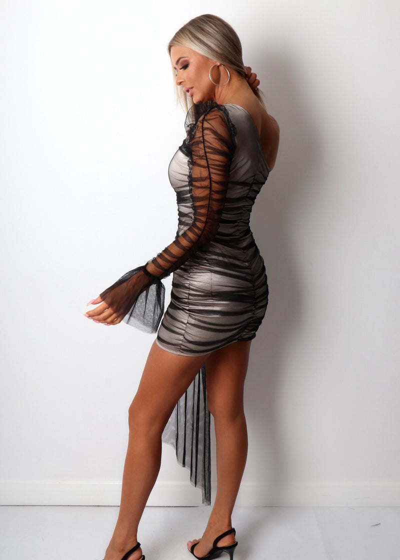 Private Party Ruched Mesh Dress - Black