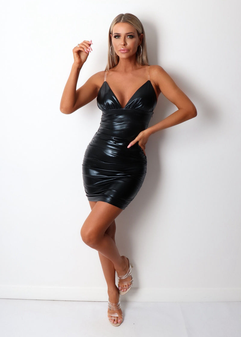 Bad Reputation Leatherette Ruched Dress - Black