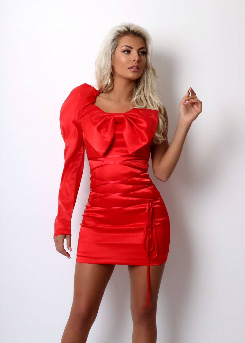 Amour Bow Detail Satin Dress - Red