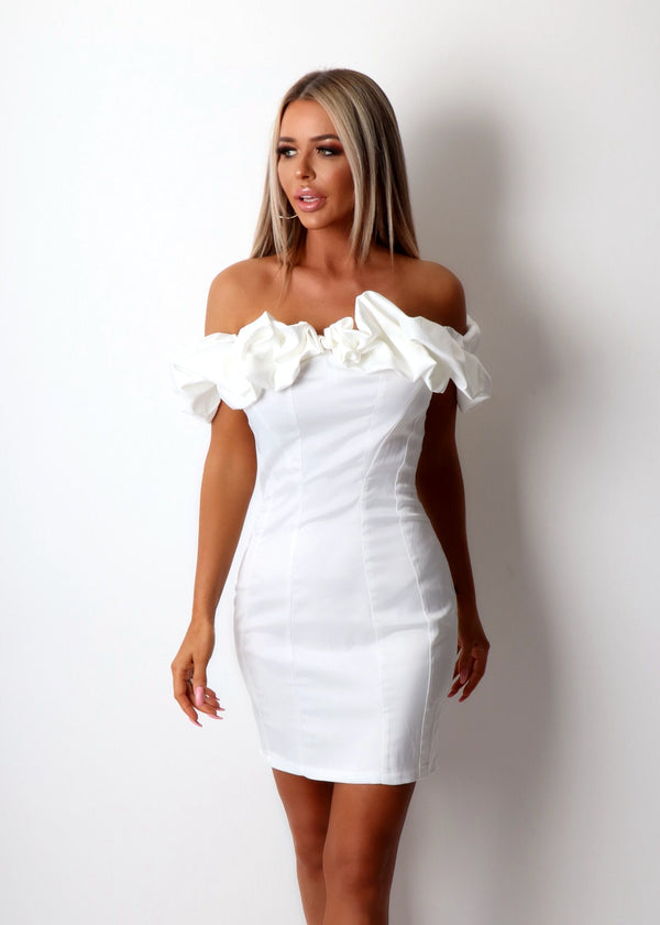 Girl Crush Bardot Frill Detail Dress - White