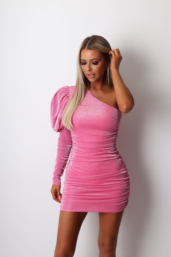 Sweet Fantasy Ruched Lurex Dress - Pink