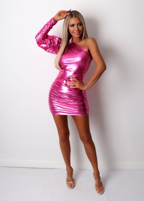 Sweet Fantasy Ruched Lurex Dress - Metallic Pink