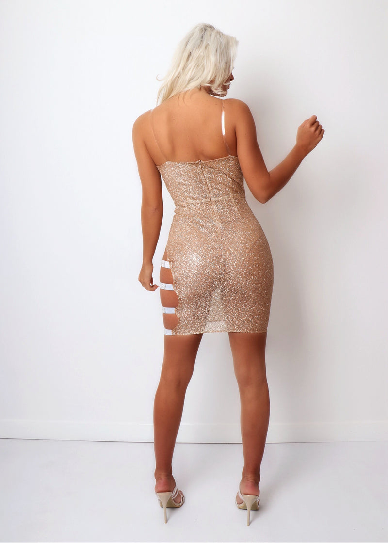 Gold Dust Glitter Mesh Dress With Diamante Side Straps