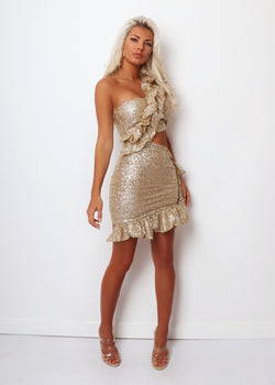 Champagne Kisses Glitter Ruffle Dress - Gold