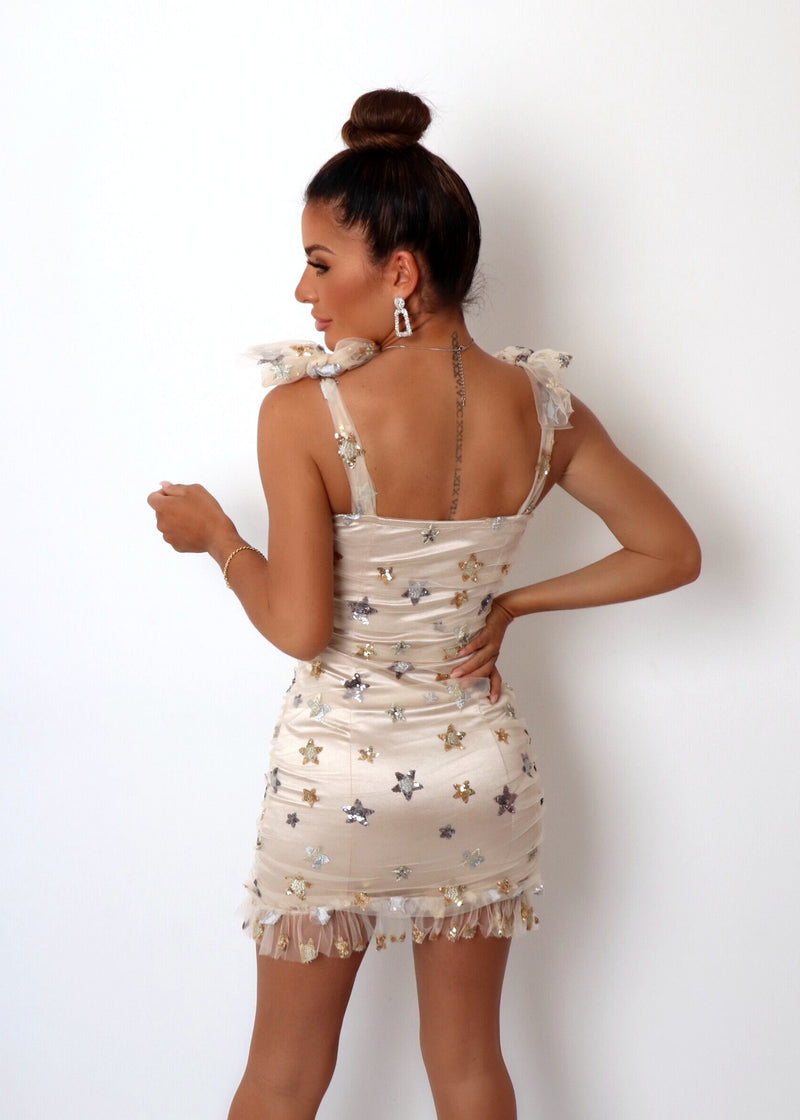 Outshine Them Star Dress - Nude