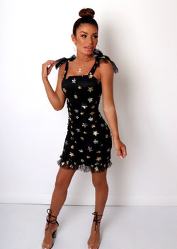 Outshine Them Star Dress - Black