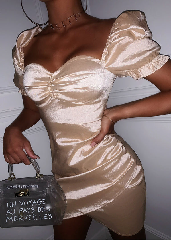 Rich Girl Stretch Metallic Dress - Gold Champagne