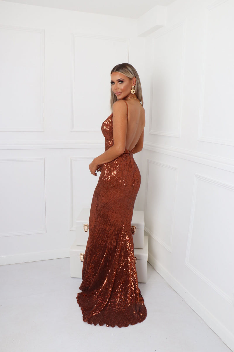 'Frozen Heart' Sequin Gown - Bronze