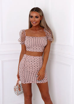 Spring Heat Polka Dot Print Mesh Ruched Two Piece - Nude