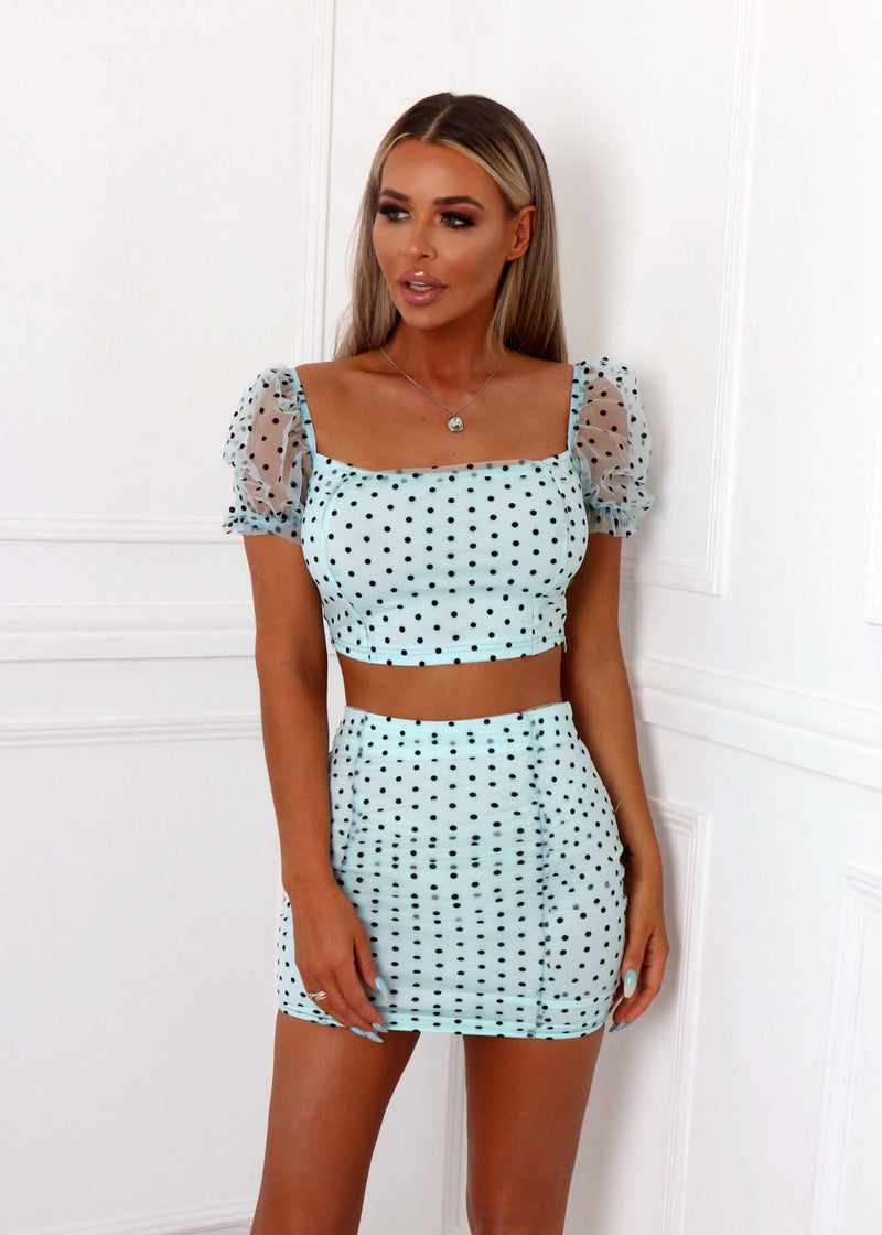 Spring Heat Polka Dot Print Mesh Ruched Two Piece - Mint Blue