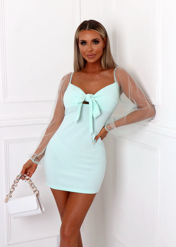 Summer Romance Sheer Sleeve Dress - Mint
