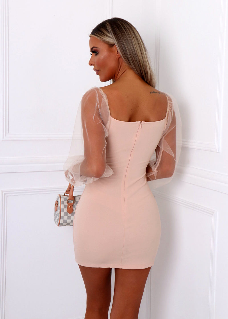 Summer Romance Sheer Sleeve Dress - Nude