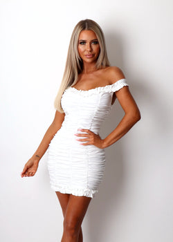Vacay Mood Ruched Bardot Dress - White