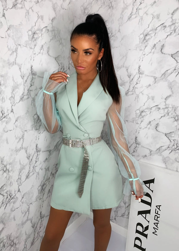 Fresh Start Sheer Sleeve Blazer Dress - Mint Green