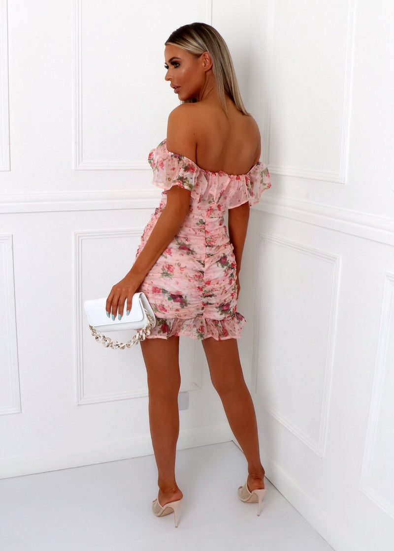 Love Me More Floral Print Bardot Dress