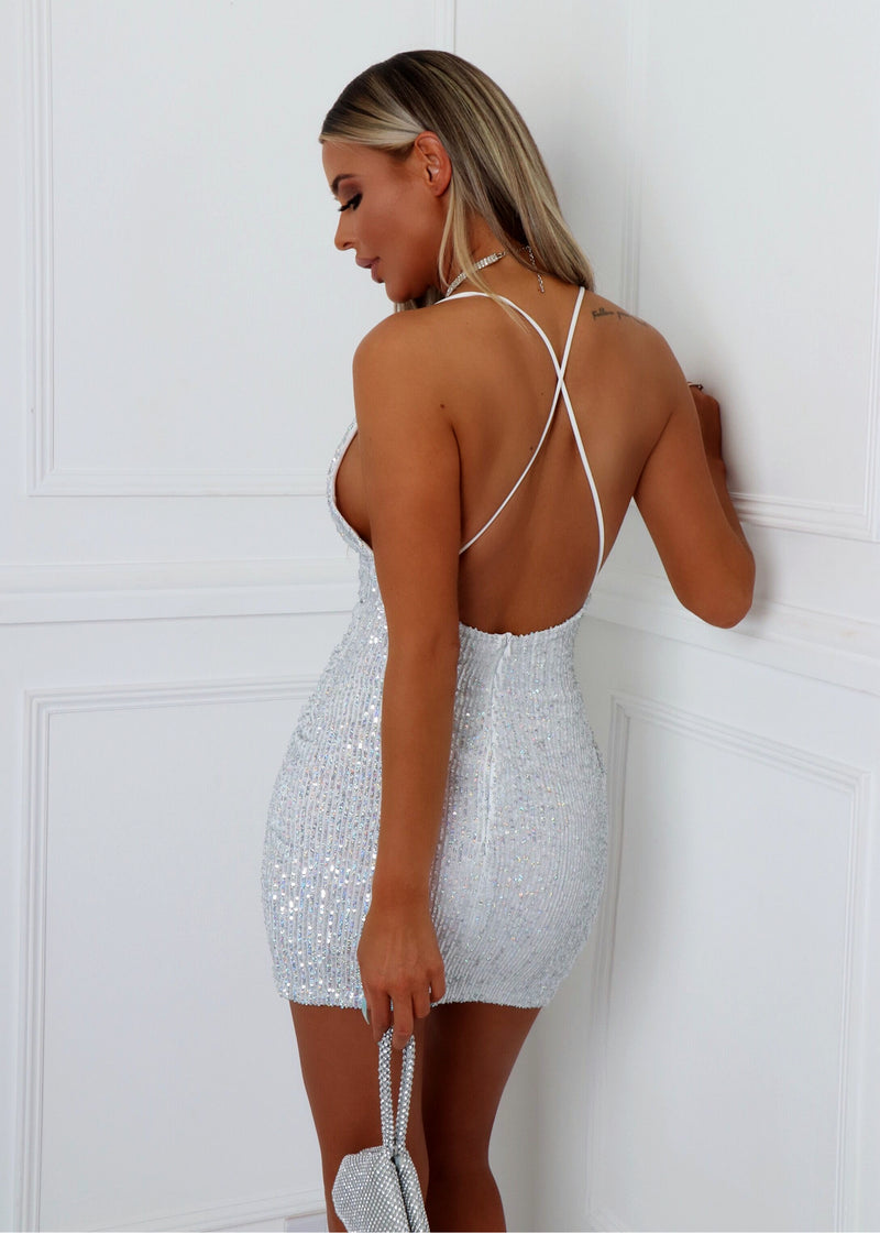 Into The Night Holographic Sequin Dress