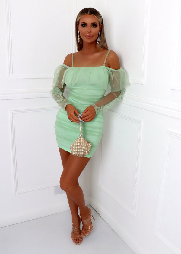Major Feels Ruched Sheer Dress - Mint Green