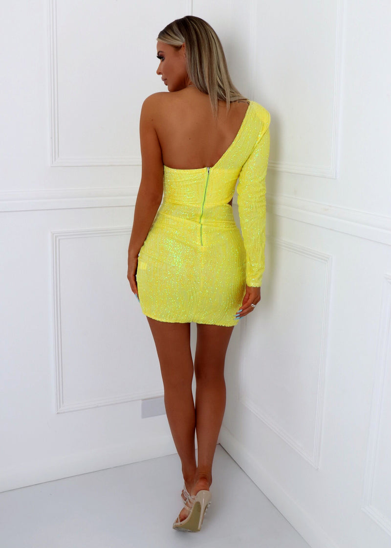 Party In LA Glitter Sequin Dress - Yellow