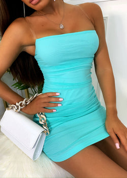 Mesh Behaviour Ruched Dress - Mint Green