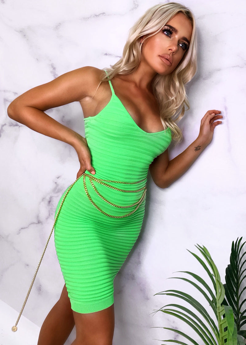 Pure Perfection Ribbed Dress - Lime