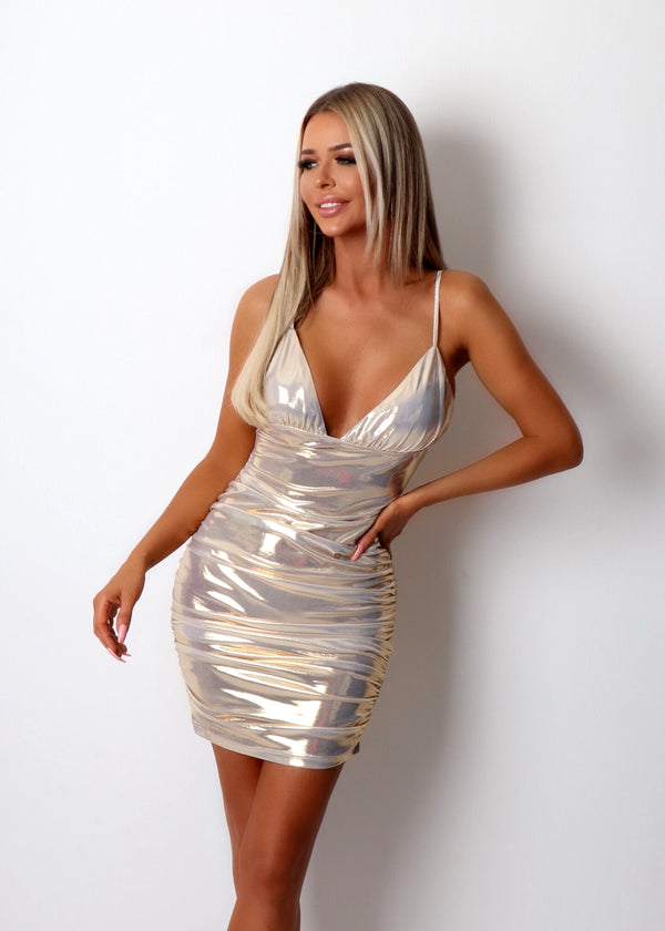 Bad Reputation Metallic Ruched Dress - Iridescent White