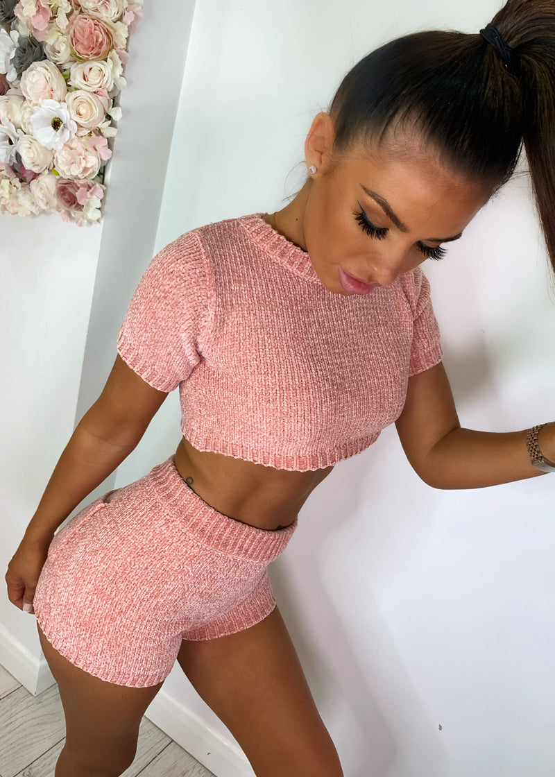 At My Knits Chenille Two Piece - Blush