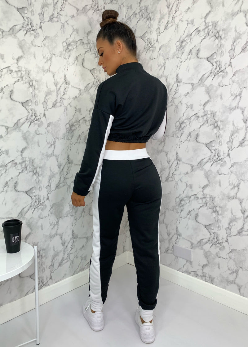 Eden Colour Block Contrast Tracksuit - Black