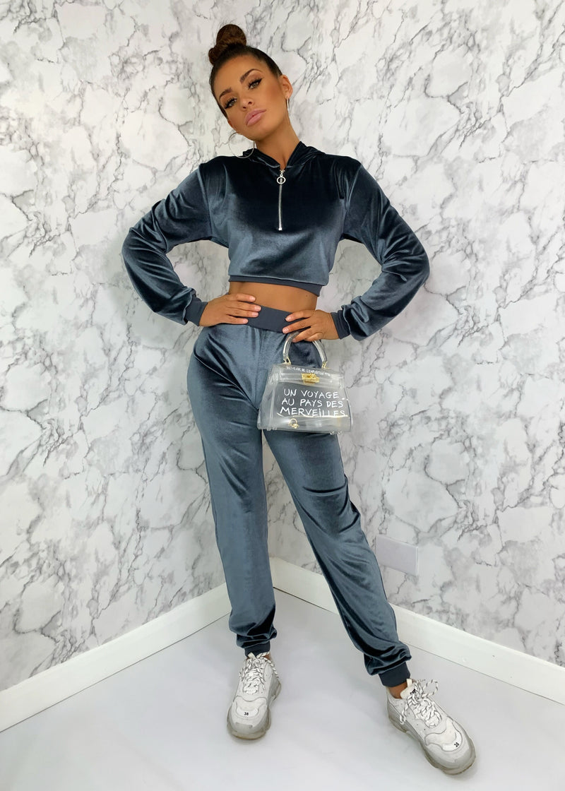 Soft To The Touch Velour Tracksuit - Petrol Blue