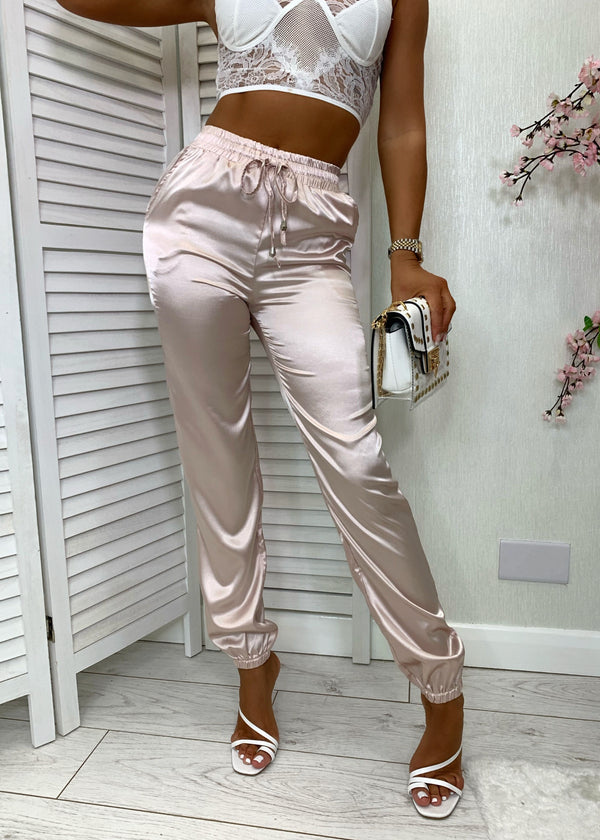 Glow With It Satin Joggers - Nude