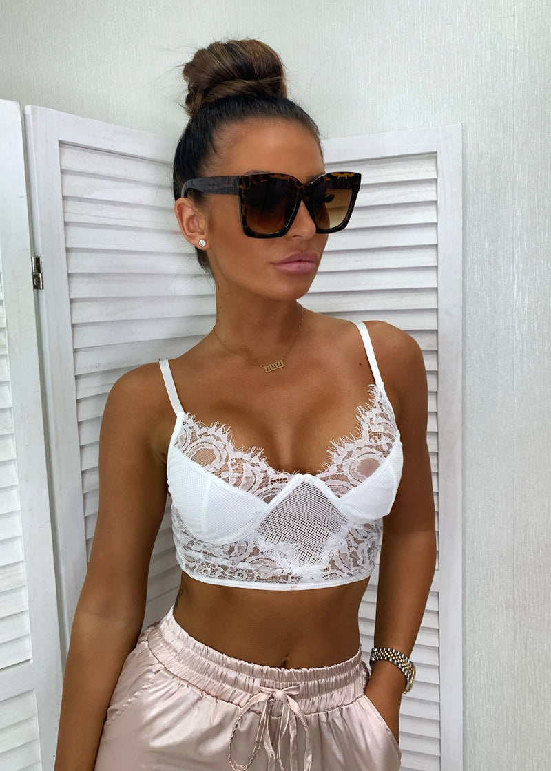 Just In Lace Mesh Bralet - White