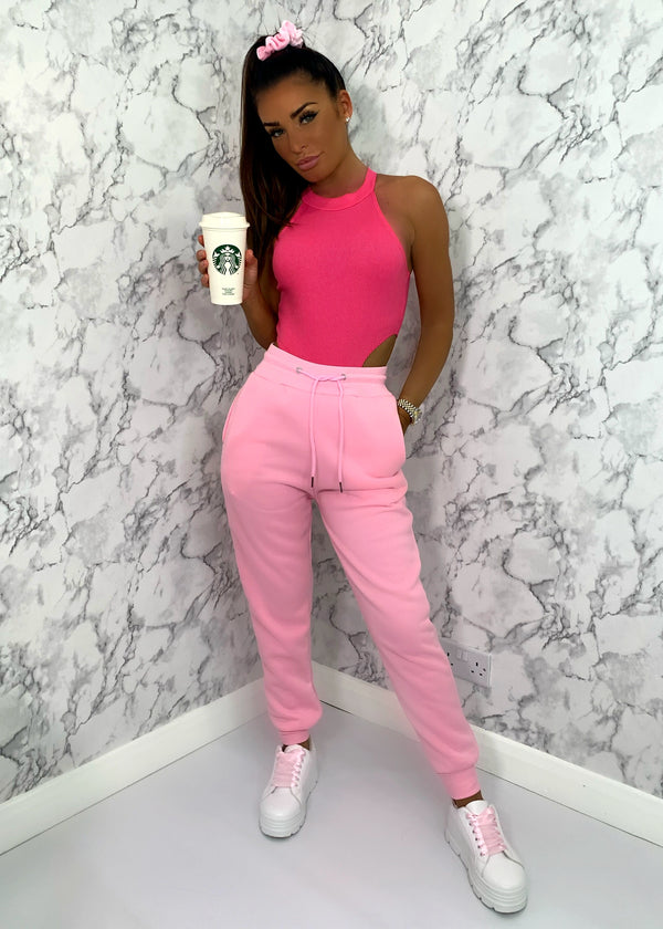 Candy Floss Cuffed Joggers - Pink