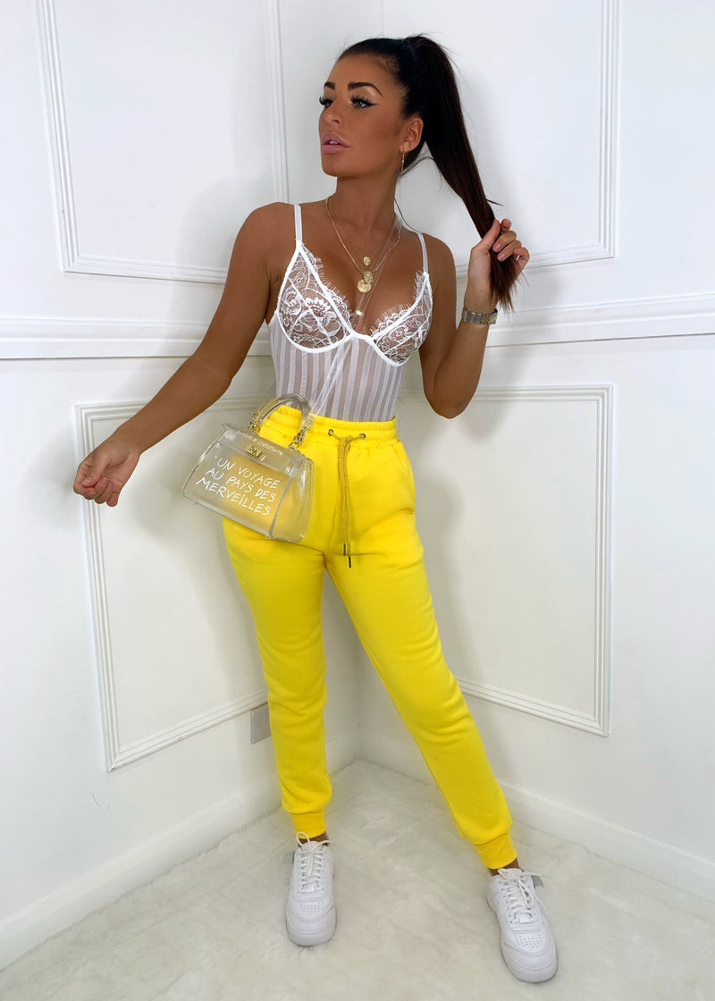 Candy Floss Cuffed Joggers - Yellow