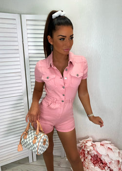 Don't Kill My Vibe Denim Playsuit - Blush Pink