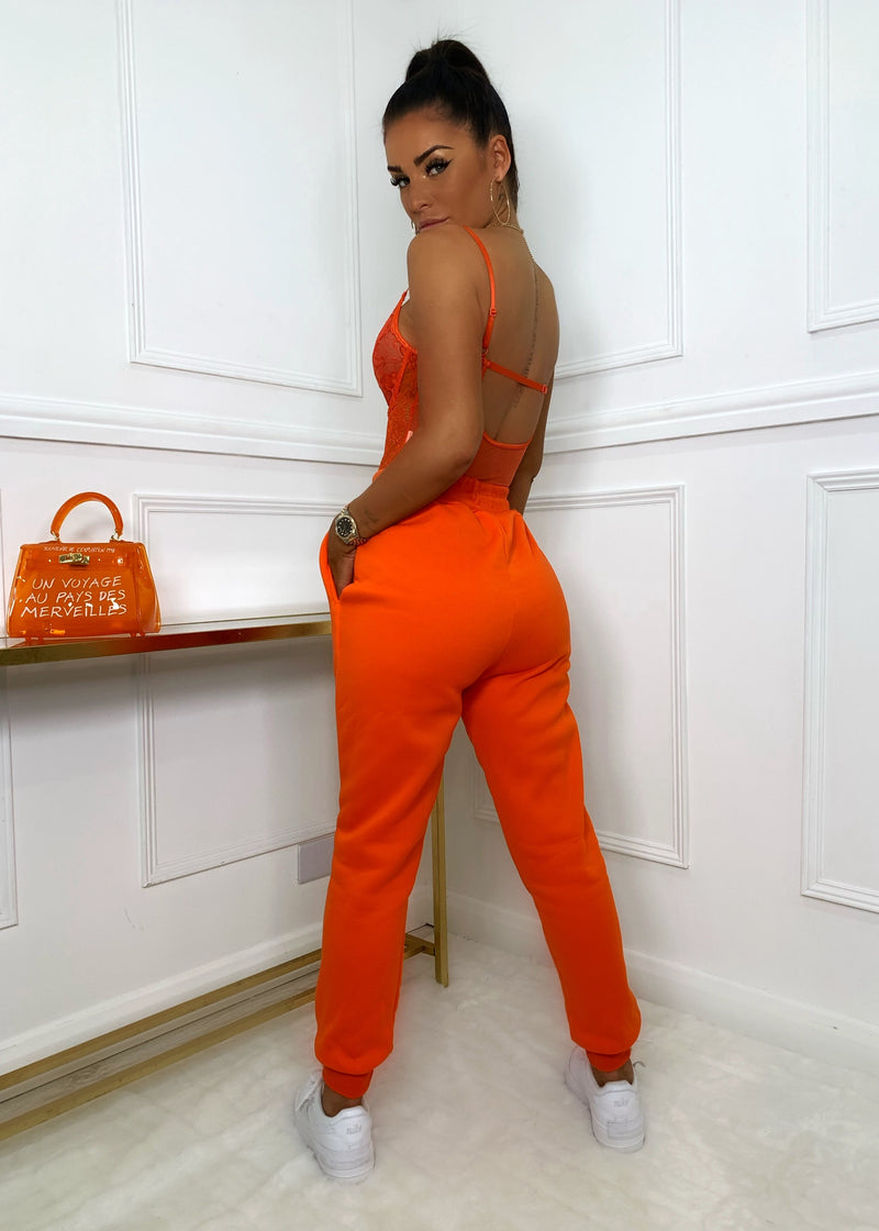 Candy Floss Cuffed Joggers - Orange