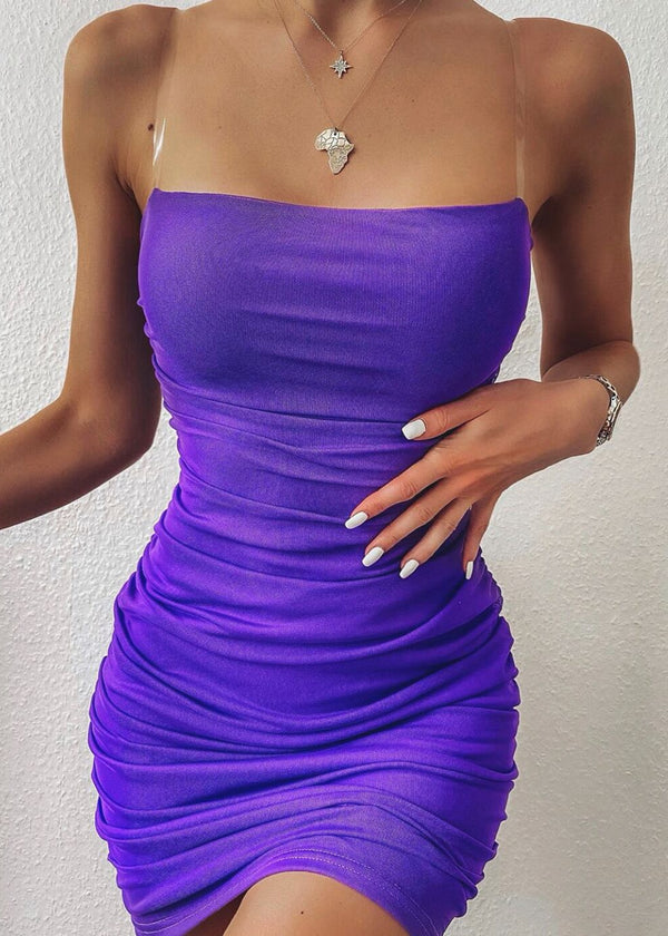 Mesh Behaviour Ruched Dress - Purple