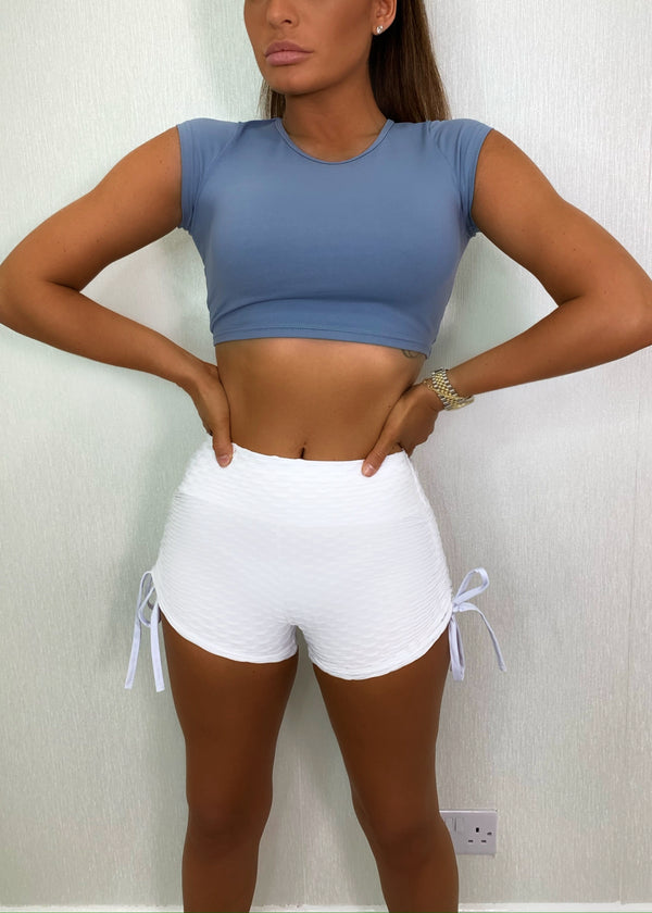 Second Skin Ruched Bum Tie Up Shorts - White