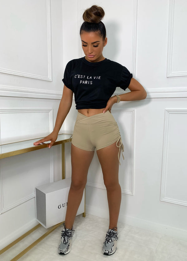 Basic Instinct High Waisted Shorts - Sand