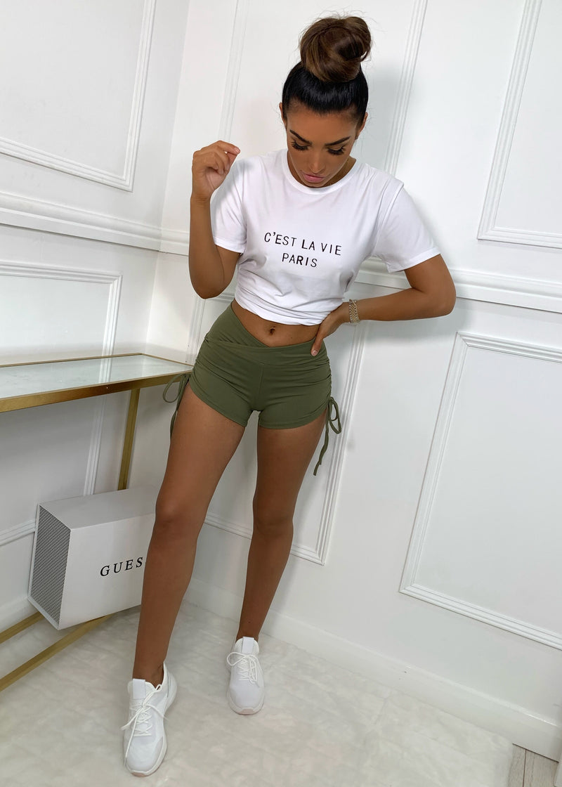 Basic Instinct High Waisted Shorts - Khaki