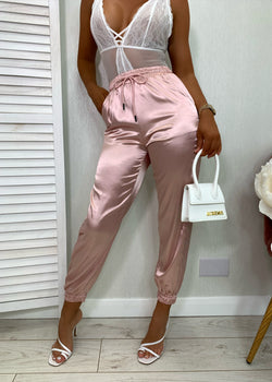 Glow With It Satin Joggers - Pink