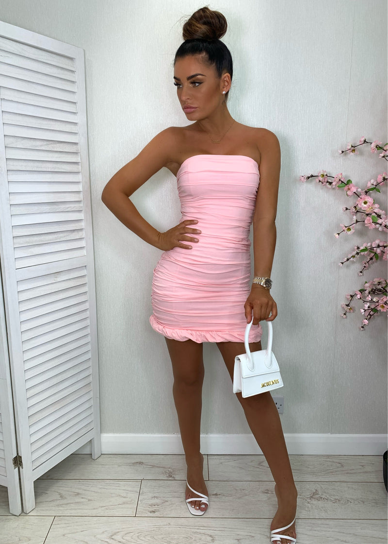 Blame It On The Ruche Strapless Dress - Pink