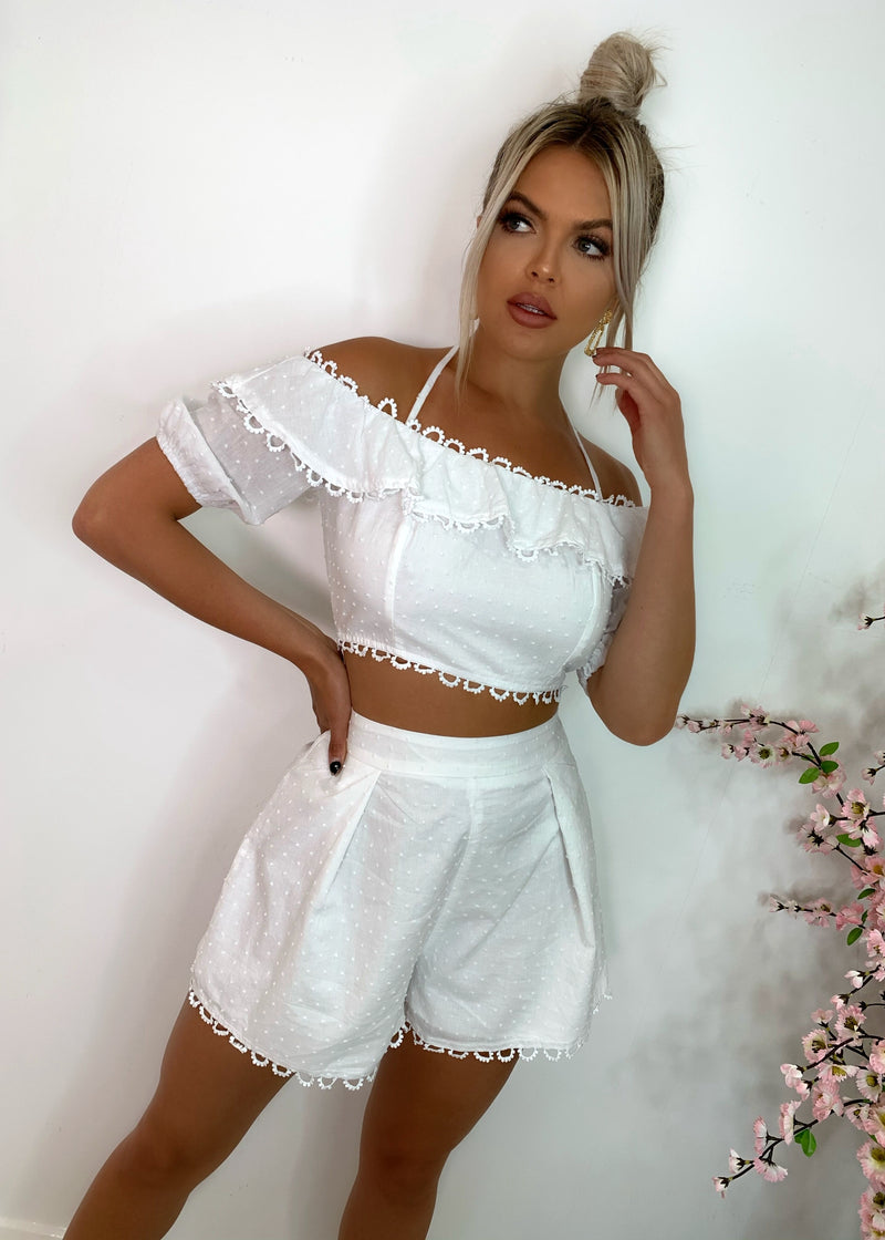 Tier For It Embroidered Two Piece - White