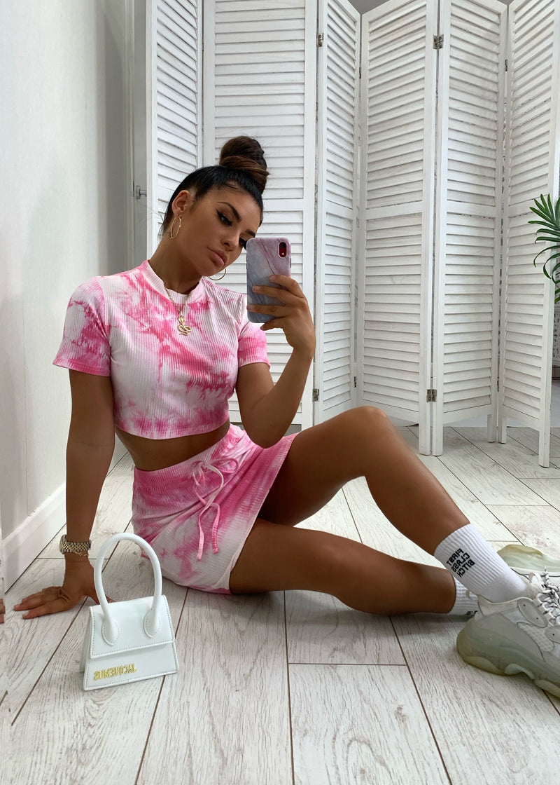 Pink Lane Tie Dye Ribbed Two Piece