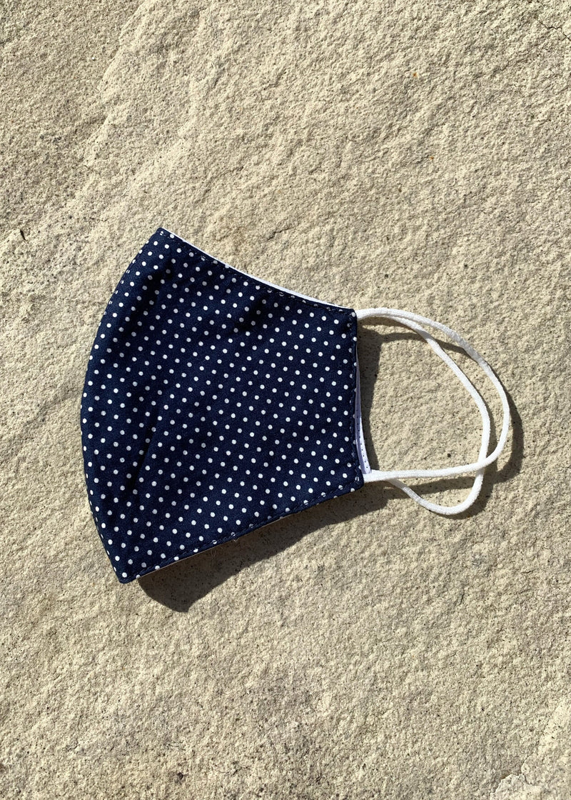 Polka Dot Print Cotton Face Mask - Navy