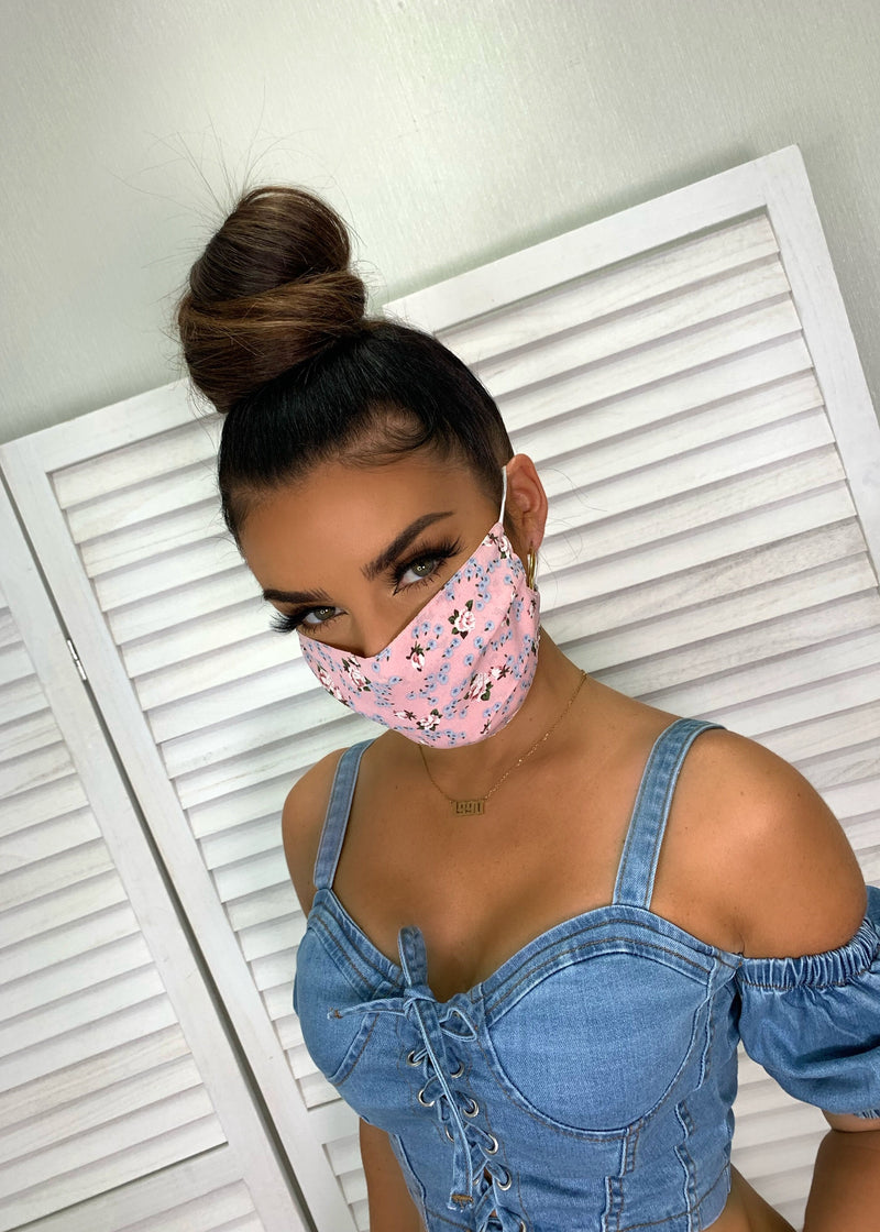 Floral Print Chiffon Face Mask - Pink