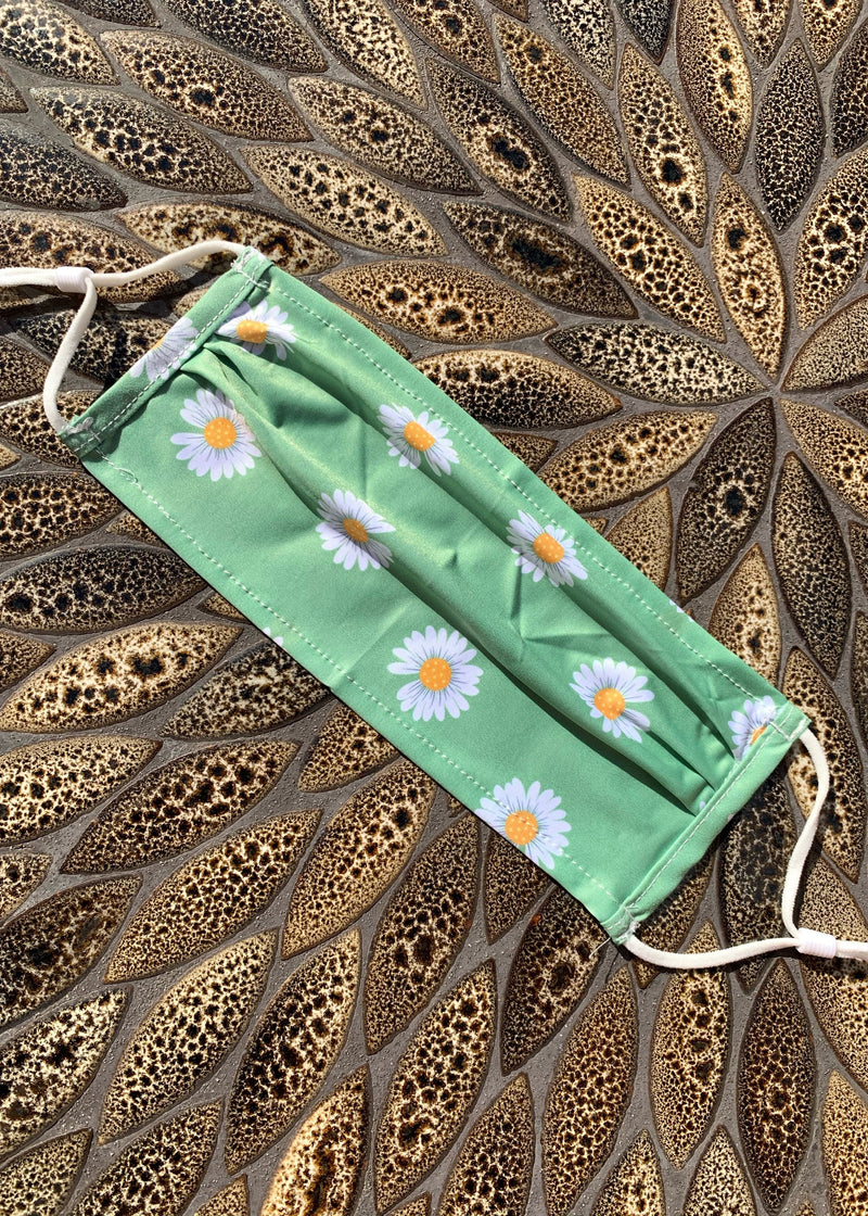 Daisy Print Face Mask - Green