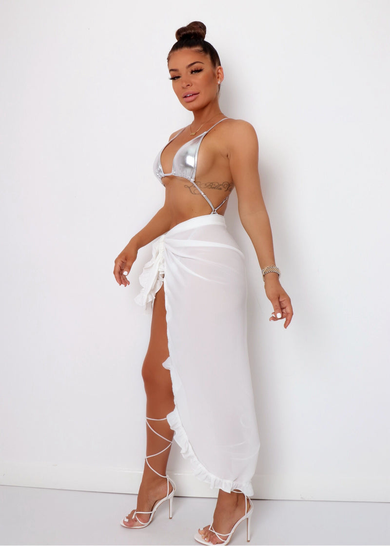 Iris Frilled Long Sarong - White