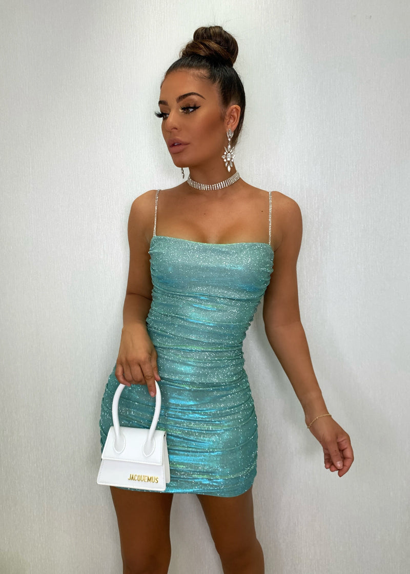 Material Girl Ruched Glitter Dress - Mint