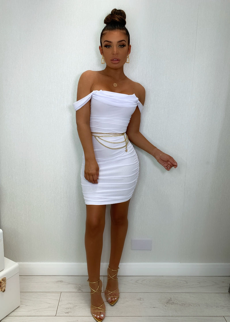 Guilt Trip Ruched Dress - White